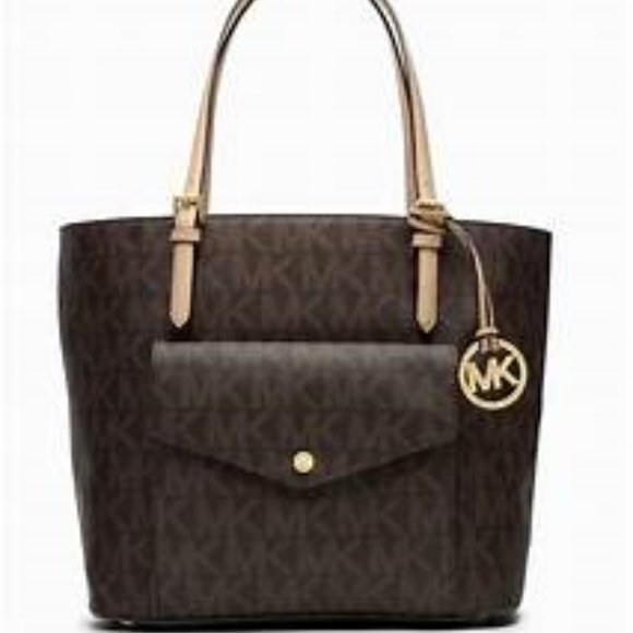 Michael Kors Handbags - MICHAEL KORS Jet Set Large Logo Pocket Tote Bag